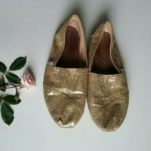 Toms | Gold Glitter Toms